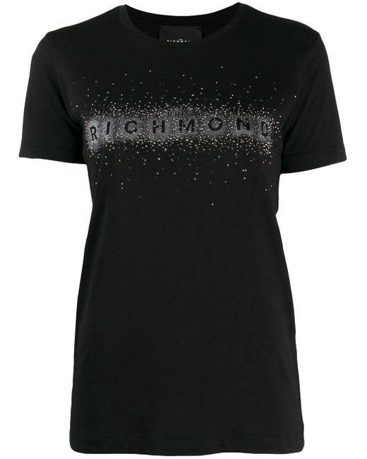 John Richmond スタッズロゴ Tシャツ Black