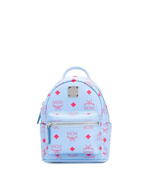 MCM Monogram Print Backpack Blue