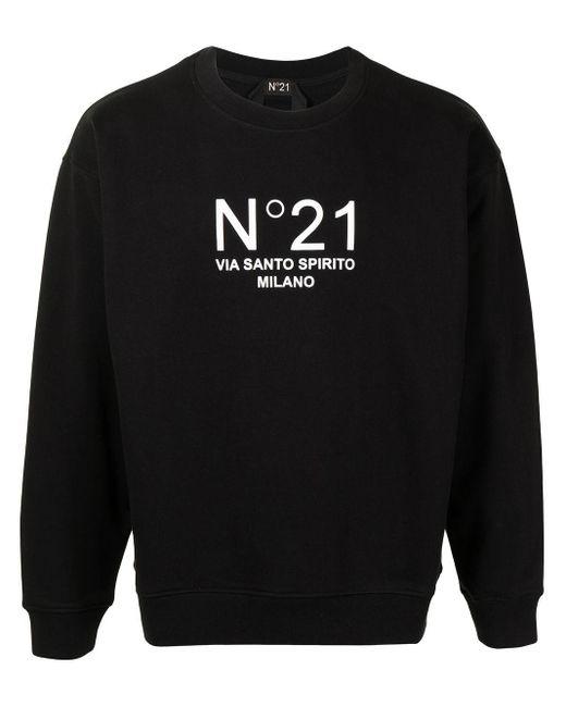 Felpa con stampa di N°21 in Black da Uomo