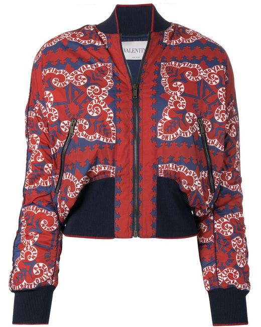 Valentino ロゴプリント ボンバージャケット Red