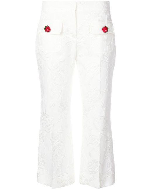 Dolce & Gabbana エンブロイダリー フローラル クロップドパンツ White