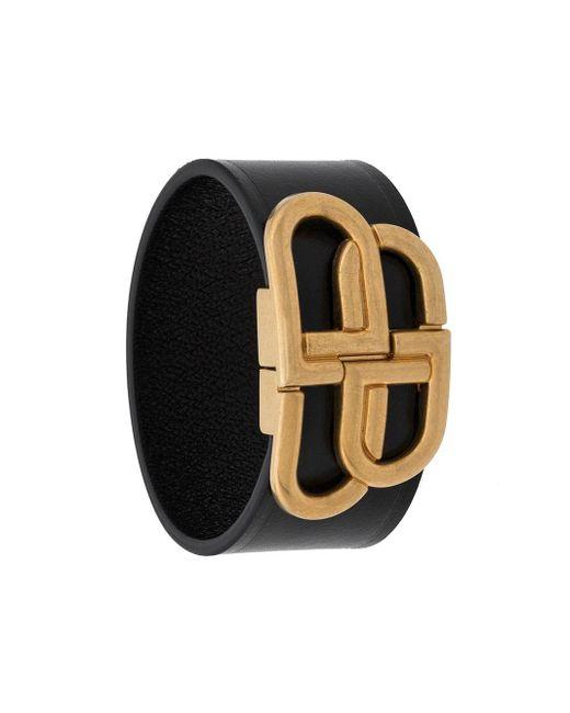Balenciaga Black Bb Buckle Bracelet