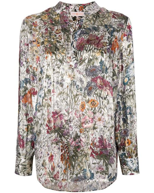 Tory Burch   White Printed V Neck Blouse   Lyst