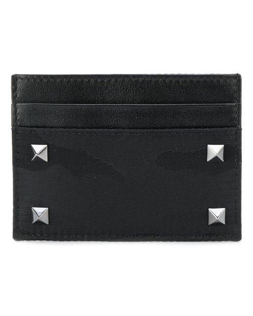 Valentino - Black Vltn Logo Print Leather Cardholder for Men - Lyst