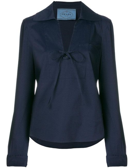 Prada - Blue Wide Legged Cropped Suit - Lyst