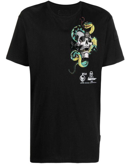 Philipp Plein Black Graphic-print Cotton T-shirt for men