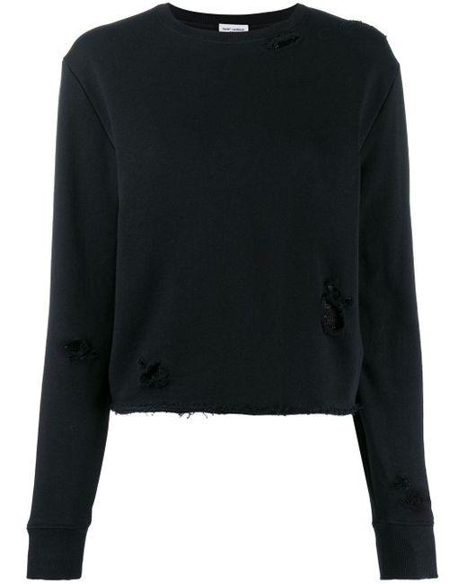 Трикотажный Свитер С Эффектом Потертости Saint Laurent, цвет: Black