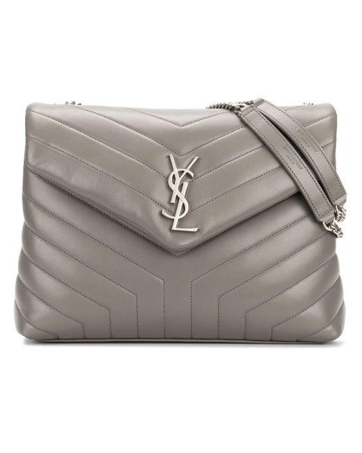 Saint Laurent Gray Medium Loulou Chain Bag