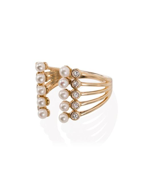 Dana Rebecca Metallic 14kt Gold Diamond Open Ring