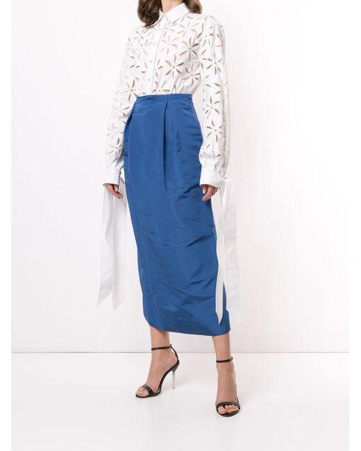 Carolina Herrera ハイウエスト テーパードスカート Blue