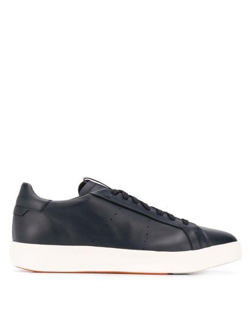 Santoni Blue Low Lace-up Sneakers for men