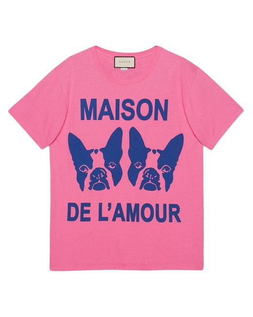 "Gucci Pink ""maison De L'amour"" T-shirt With Bosco And Orso"