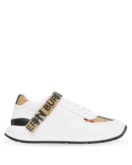 Кожаные Кроссовки Ronnie Burberry для него, цвет: White