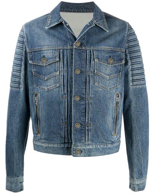 メンズ Balmain エンボスロゴ デニムジャケット Blue