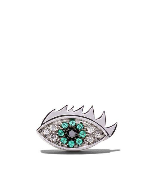 """""""18kt White Gold, Emerald And Diamond Eye On Me Earring"""" Delfina Delettrez"""