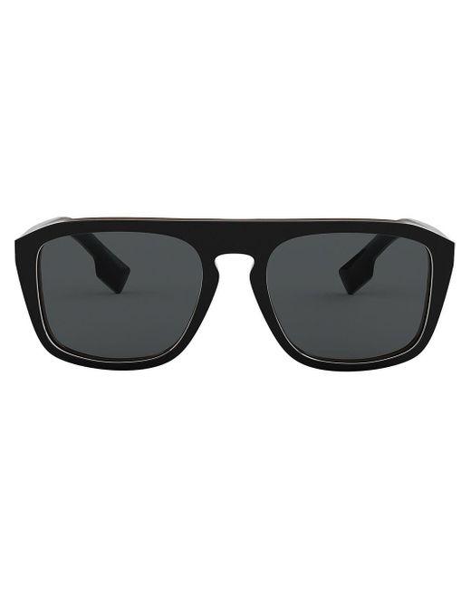 メンズ Burberry スクエアフレーム サングラス Black
