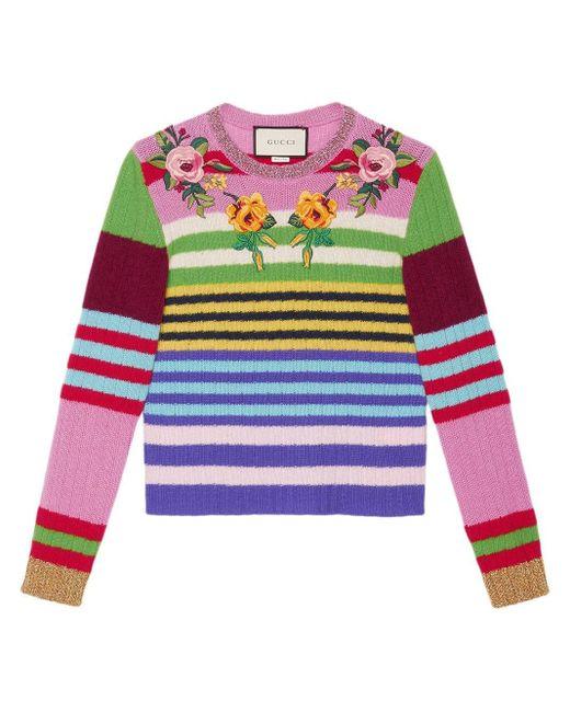 Gucci 刺繍ディテール ニットトップス Multicolor