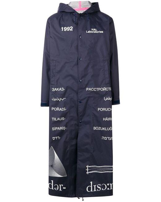 メンズ Undercover プリント ロング フーデッドコート Blue