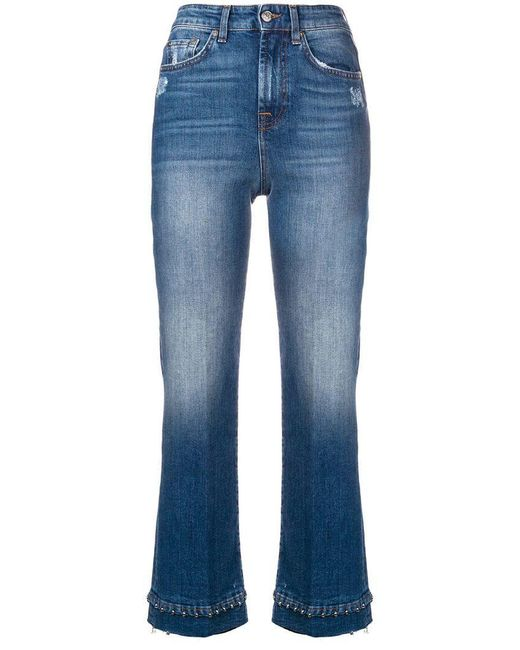 7 For All Mankind - Blue Beaded Hem Cropped Jeans - Lyst