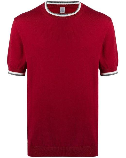 メンズ Eleventy コントラストトリム Tシャツ Red