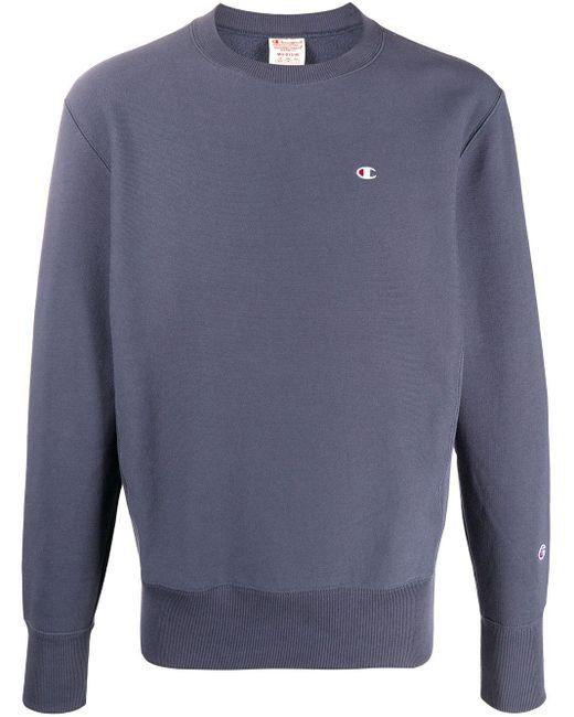 メンズ Champion ロゴ スウェットシャツ Gray
