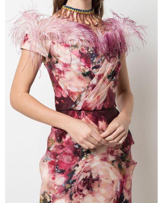 Marchesa オフショルダー ドレス Pink