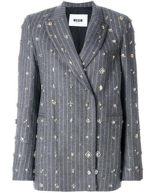 MSGM | Gray Embellished Pinstripe Suit Jacket | Lyst