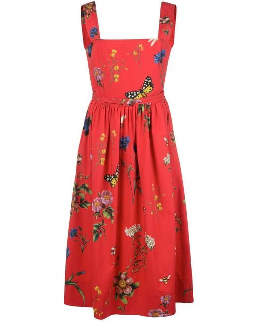 Oscar de la Renta Botanical Garden ドレス Red