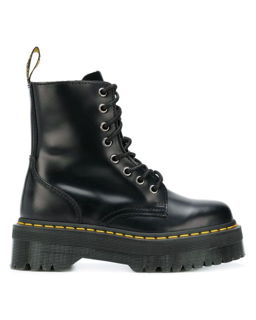 Dr. Martens Jadon Polished Smooth Chunky Sole Bootie In Black