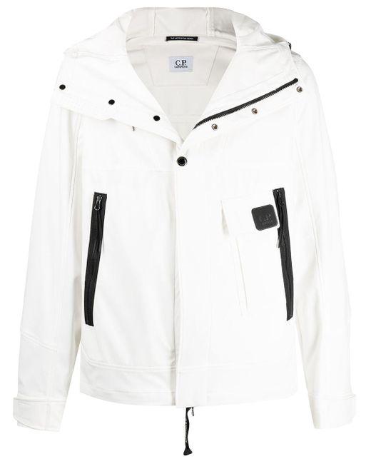 メンズ C P Company ジップ フーデッドジャケット White