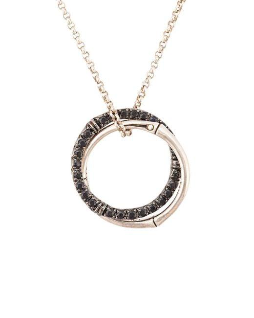 John Hardy Metallic Bamboo Lava Medium Interlink Sapphire Pendant Necklace