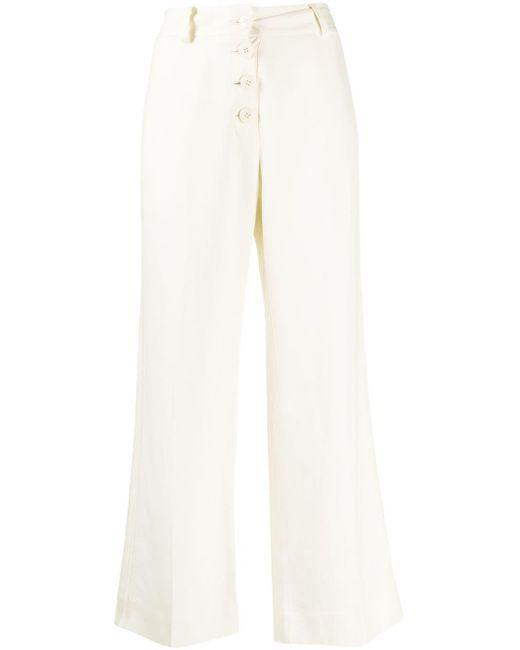10 Crosby Derek Lam Culottes Ema drapeados con raya de mujer de color blanco
