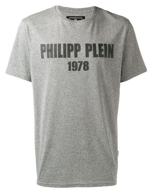 メンズ Philipp Plein ロゴ Tシャツ Gray