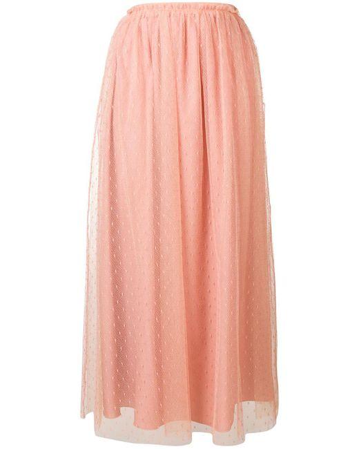 Falda a media pierna con motivo de lunares RED Valentino de color Pink