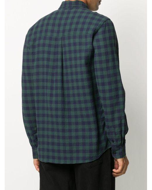 メンズ Henrik Vibskov チェックシャツ Blue