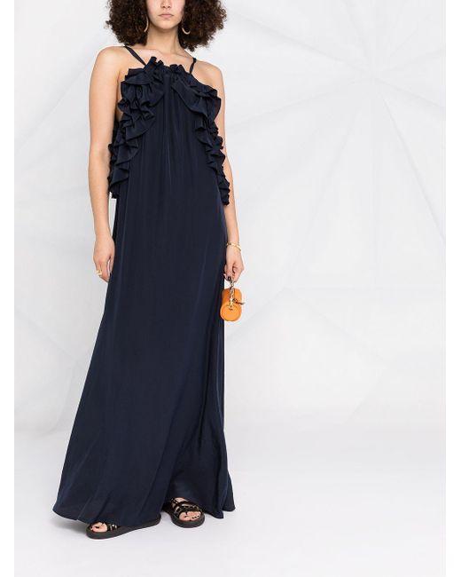 P.A.R.O.S.H. ラッフル ノースリーブ ドレス Blue