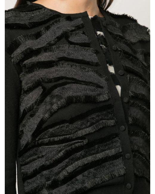 Cardigan con frange di Oscar de la Renta in Black