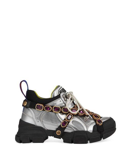 Gucci フラッシュトレック クリスタル スニーカー Multicolor