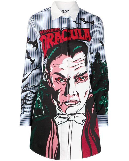 Moschino Dracula Print Shirt Blue