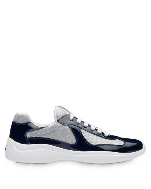 Zapatillas de piel y tela técnica Prada de hombre de color Blue