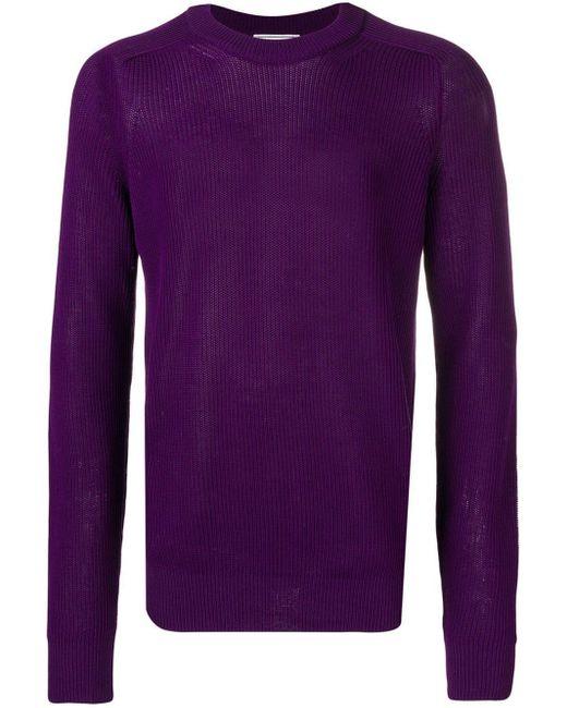 メンズ AMI フィッシャーマンリブ クルーネック セーター Purple