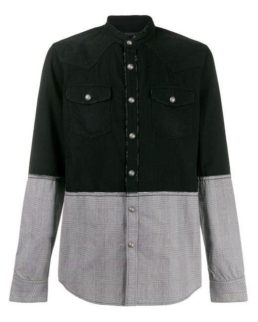 Двухцветная Рубашка Balmain для него, цвет: Black