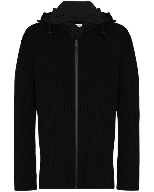 Bottega Veneta Black Ribbed Zip-up Hooded Cardigan for men