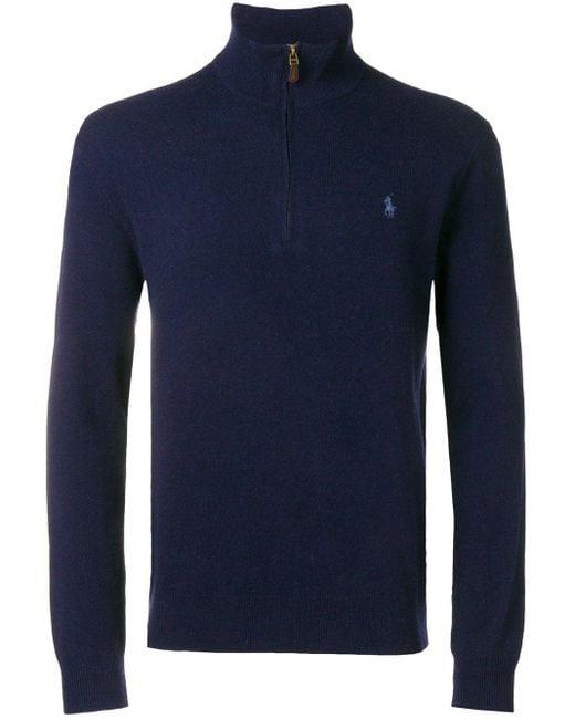 メンズ Polo Ralph Lauren ハーフジップ セーター Blue