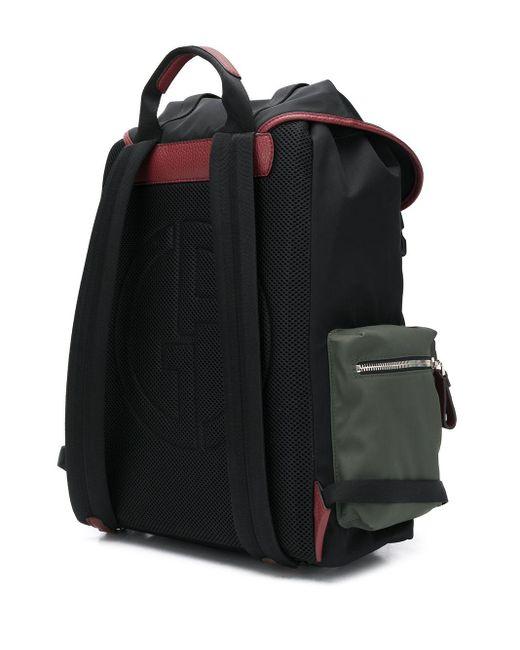 メンズ Giorgio Armani カラーブロック バックパック Black