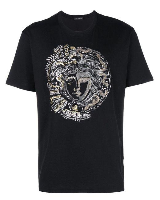 T-shirt à broderie Medusa et strass Versace pour homme en coloris Black