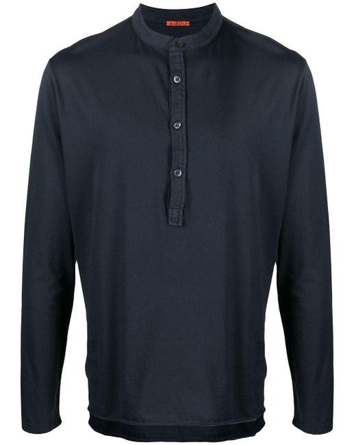 Camisa sin cuello con botones Barena de hombre de color Blue