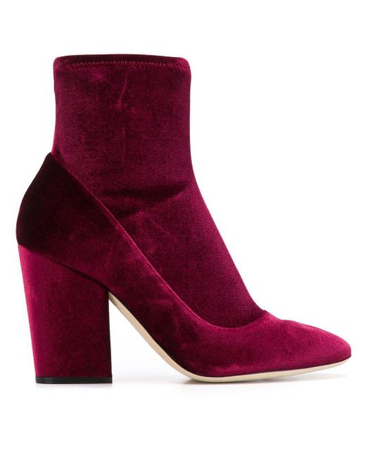 Sergio Rossi Red Ankle Boots