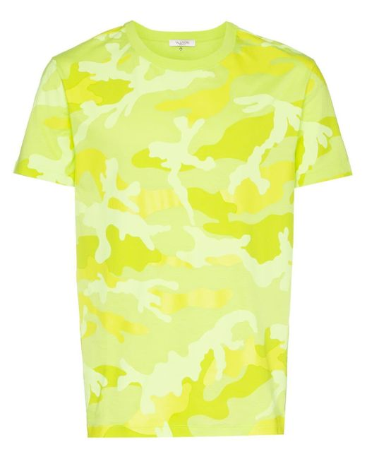 メンズ Valentino カモフラージュ Tシャツ Yellow