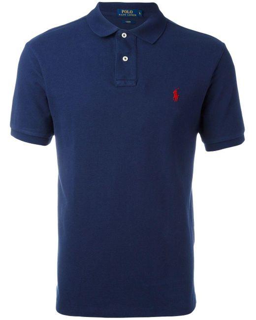 メンズ Polo Ralph Lauren ロゴ刺繡 ポロシャツ Blue